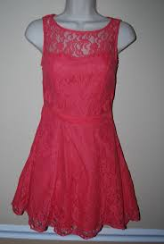 bcbgeneration sheer lace dress w key hole xs coral neon pink nwot