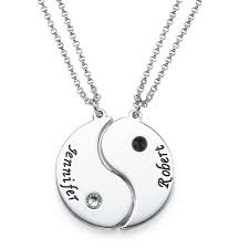 Necklaces With Names Engraved Amazon Com Sterling Silver Engraved Yin Yang 2 Pieces Necklace