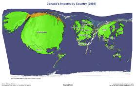 cartogram map canada imports cartogram 2003 map mappery