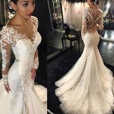 tulle wedding dress luxury see through sleeve mermaid lace tulle wedding