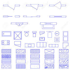 complete set of blueprint icons and symbols used by architects