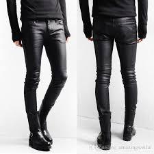 Skinny White Jeans Mens 2017 Korean Style Black Skinny Jeans Men Coated Denim Pants Washed