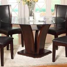 glass top dining room set crown mark camelia espresso round glass top dining table with