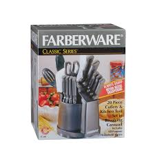 Kitchen Knives That Never Need Sharpening by Farberware 20pc Cutlery And Tool Set In Carousel Walmart Com