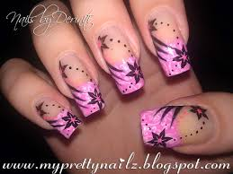 patterned pink french tips with flowers tribal stripes u0026 dots