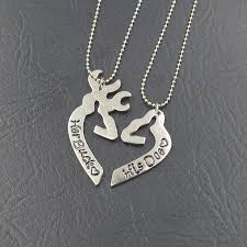 buck and doe couples necklace engraved his heart buck his doe necklace guitar