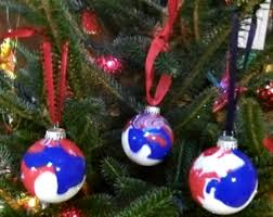 crafting with white and blue ornaments made in