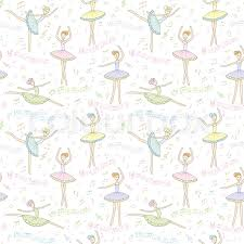 ballerina wrapping paper seamless pattern ballerinas with notes on a white