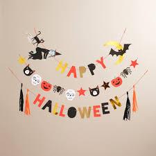 lace halloween garland beige black orange color happy halloween
