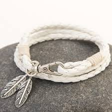 leather bracelet with silver charms images Feather charm multiwrap leather bracelet project yourself jpg