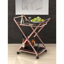 zuo vesuvius rose gold serving cart 100370 the home depot