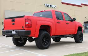 Red Lifted Chevy Silverado Truck - matte red vinyl truck wrap zilla wraps