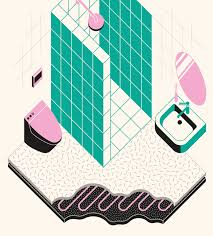 bathroom illustration for dwell magazine architecture