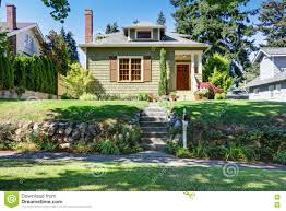 American Small House Small Green American Craftsman House Exterior Stock Photo Image