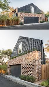 this australian home has a garage that is surrounded by recycled perforated and recycled brick make up this impressive design of this australian home with a garage that is surrounded by recycled brick