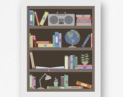 Nursery Wall Bookshelf Library Wall Art Etsy