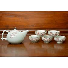 cherry blossom asian tea set with matching cups hanami cherry blossom ceramic tea set at majestic dragonfly home decor artwork unique