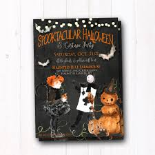 Vintage Halloween Invite Rustic Halloween Party Invitation