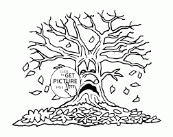 fall leaves and tree coloring pages for kids autumn coloring