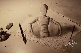 anamorphic 3d drawings through the paper dump a day