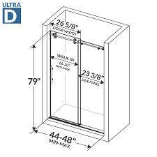 Shower Door Width 48 W X 79 H Sliding Shower Door Ultra D