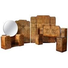 1920s italian art deco bedroom set in walnut and burl walnut by