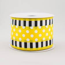 black and white polka dot ribbon 2 5 striped edge polka dot ribbon yellow black white 10