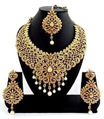 stone necklace set designs images Buy geruaa golden stone necklace set with maang tikka for women jpg