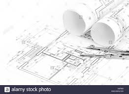 architectural drawings with floor plan and drawing compass stock
