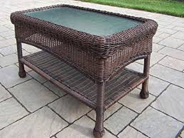 amazon com oakland living resin wicker coffee table 29 by 17 5