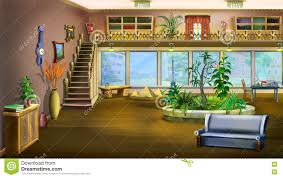 cartoon interior design of vintage living room background stock