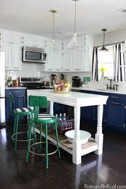 spray paint kitchen cabinets diy navy and white modern kitchen