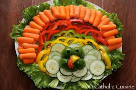 catholic cuisine thanksgiving turkey fruit veggie platters