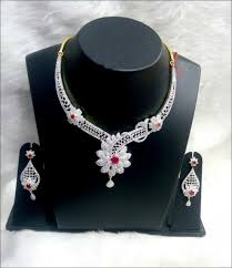 white colour necklace images Red and white wedding diamond necklace set jpg