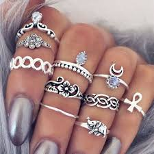 rings set images Buy 10pcs set boho vintage punk carved flower jpg