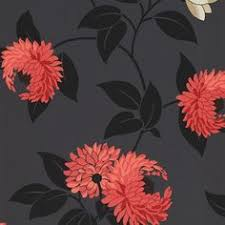 grey wallpaper with red flowers black floral oriental cushion vinyl wallpaper 822526 black