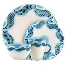elama seashore 16 blue service for 4 stoneware