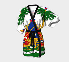 Haitian Flag Day Shirts Ladies Haitian Flag Robe Chiffon Fabric Robe And Kimonos