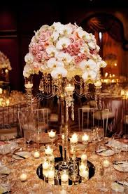 reception centerpieces white orchid and pink gold wedding reception centerpiece