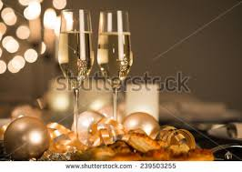 new years chagne flutes new years party table two stock photo 239503255