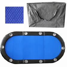 6 seat poker table blue 84 inch 10 player tri fold poker table top w speed cloth