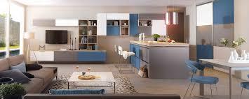 cuisine ouverte ilot central cuisine moderne îlot central blanc gris et bleue ambiance patchwork