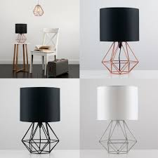 decorative retro geometric table lamp with drum shade bedside home