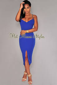 royal blue dress blue chain straps front slit midi dress