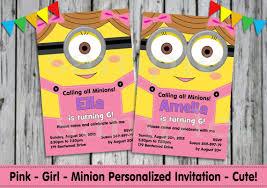 birthday invites glamorous personalized minion birthday
