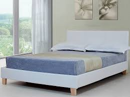 White Leather Bed Frame King Outstanding 5ft Kingsize White Faux Leather Bed Frame