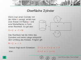 oberfläche zylinder körperberechnung würfel einheitswürfel oberfläche volumen quader