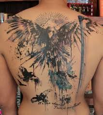 full back cover up with brilliant watercolor eagle tattoo