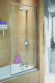 aqualux white aqua 3 750mm clear glass fully framed bath shower