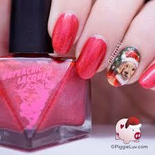 piggieluv santa dog nail art for christmas